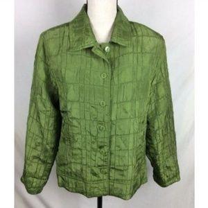 Erin London Jacket Olive Crinkle Satin Blazer